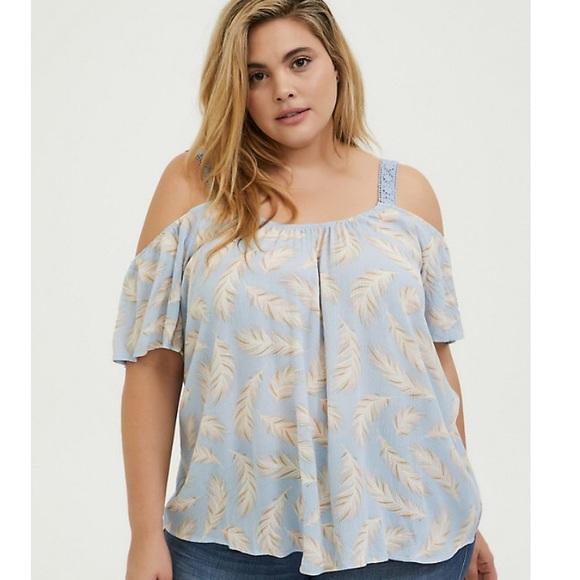 Torrid light blue feather cold shoulder blouse